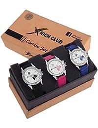 Rich Club Analogue White Dial Women's & Girl's Combo Of 3 Watch - Lui-Pnk~Blu~Blk