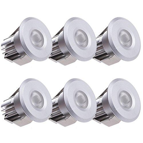 Sensati Kleine Miniatur LED Einbauleuchte Downlight Spot Set zu 6 Stück, dimmbar, 900 lm, inklusive Treiber, Gehäusefarbe silber, warmweiß T102 6 WW S -