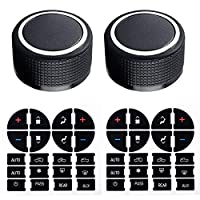 Gekufa Rear Radio Knobs (2 Packs) with AC Dash Button Stickers (2 Packs) Compatible with 2007-2013 Chevy Tahoe Chev-rolet Silverado GMC Acadia Sierra Buick Enclave Yukon GM 22912547