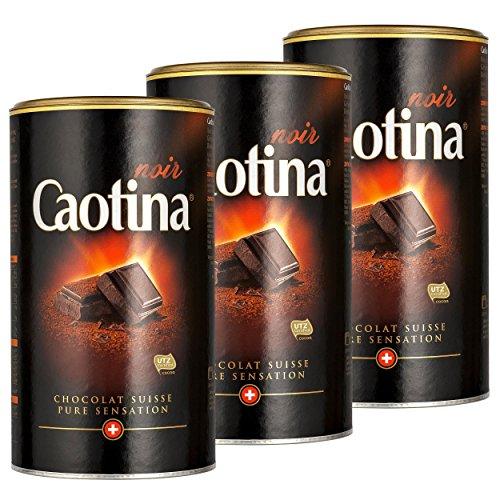 Caotina noir, Cacao en Polvo de Chocolate Oscuro Suizo, Bebida Caliente de Chocolate, Pack Triple, 3 x 500 g