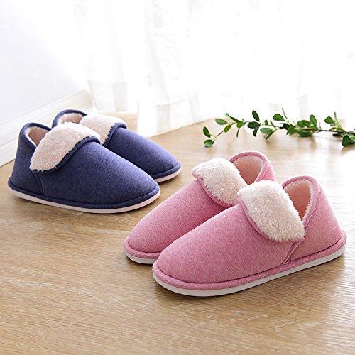YMFIE Peluche chaud hiver Chaussons en coton dameublement de maison dames et hommes épaissir lantidérapage chaussures pantoufles chaussures C