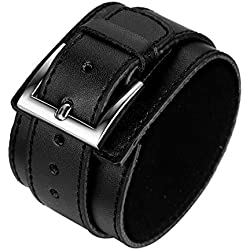 """JewelryWe Bijoux Bracelet Homme Manchette Grand Large Punk Rock Cuir Alliage Fantaisie pour Homme Couleur Noir Longueur Chaîne 11"""" avec Sac Cadeau"""