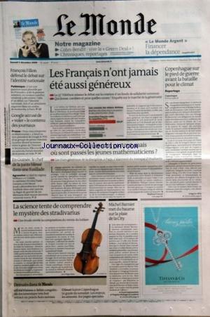 MONDE (LE) [No 20175] du 05/12/2009 - LES FRANCAIS N'ONT JAMAIS ETE...