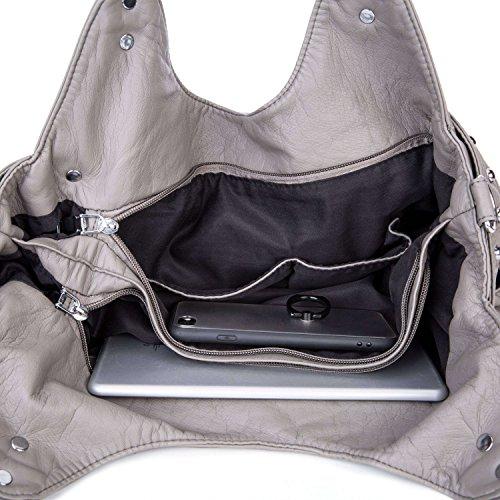 Dame Gewaschene Lederne Handtasche große Kapazität weiche Kreuzkörper-Taschentasche Grau