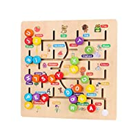wenku Wooden Preschool Colorful Montessori Toy,Hand Moved Number/Alphabet ABC Puzzle Board Toy,Learning & Educational Toys for Number Counting,Spelling,Pre-Kindergarten Boys & Girls Gift
