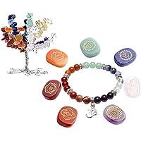 JOVIVI 7 Chakras Baum des Lebens Dekoration+OM Symbol Balance Armband+Edelstein Gravur Stein Dekoration preisvergleich bei billige-tabletten.eu