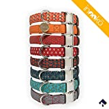 inooko - Original verstellbares Halsband mit geometrischem Muster, sehr widerstandsfähig, Größe S (27 bis 41 cm), Mehrfarbiges, Für Hunde