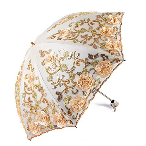 YZMBYUSAN Regenschirm Exquisite Sonnenschirme Strandschirm Gefaltet Erwachsene Blume Rose Sonnenschirm Regen Frauen Sonnenschirm, C