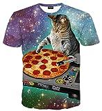 Pizoff Unisex Print Schmale Passform T Shirts mit Karikatur Katze 3D Druckmuster Pizza DJ Katze AL067-28-XL