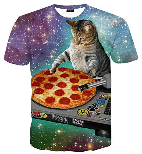 PIZOFF Unisex Print Schmale Passform T Shirts mit Karikatur Katze 3D Druckmuster Pizza DJ Katze AL067-28-XXL