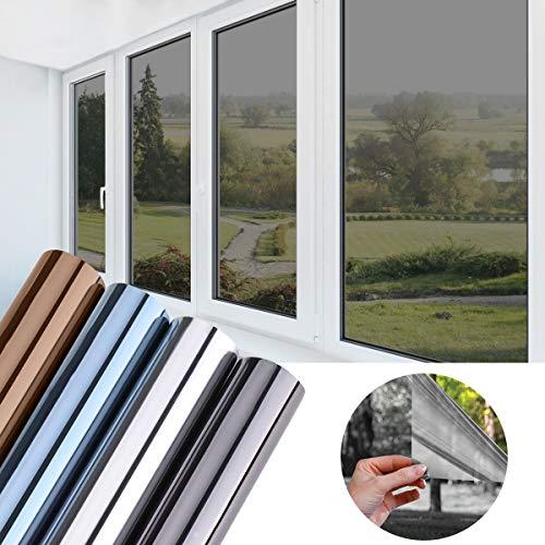 KINLO Folie Spiegel Schwarz-Grau 75x300 CM Sonnenschutzfolie selbstklebend Sichtschutzfolie Fensterfolie Tönungsfolie Sichtschutz Wärmeisolierung 99% UV-Schutz