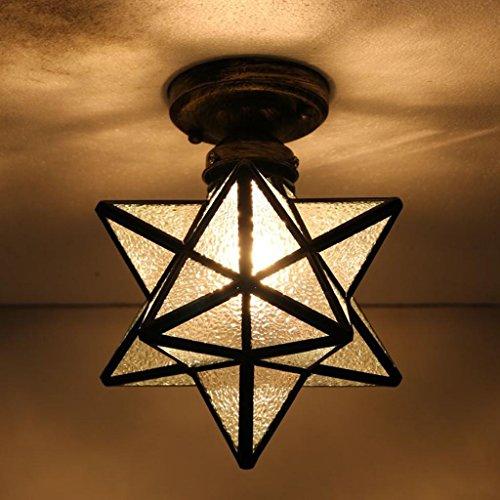 Retro Deckenleuchte Vintage Tiffany Stil Design Beleuchtung Decke Lampenschirm aus Glas innen Dekoration Loft E27* 1Max. 60W, Durchmesser 20cm durchsichtig
