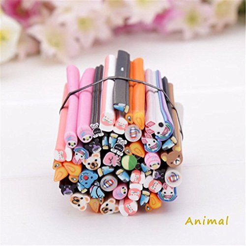 Ruichy 50pcs 3d nail art Fimo canne canne Stick Punte di argilla polimerica Adesivi Decorazione, Animal - Fimo Canne