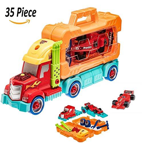 Prextex 35 Stück Auseinandernehmbarer Do It Yourself Truck Tragbare Tool Box mit Rennwagen und realistischen Lichter und Tönen Großes Spielzeug für Jungen und Mädchen Weihnachtsgeschenk (Ton-tool-box)