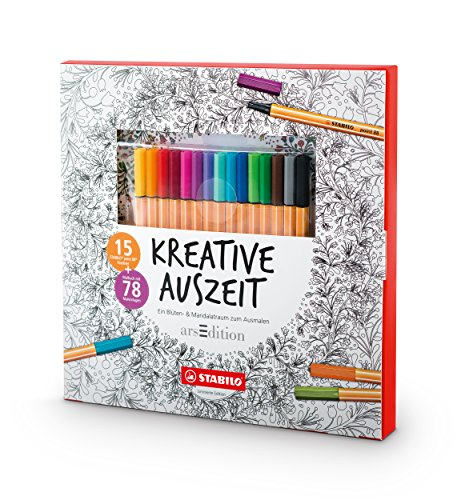 Erwachsenen-Malbuch - KREATIVE AUSZEIT - 78 filigrane Motive - inklusive 15er Pack point 88 Fineliner