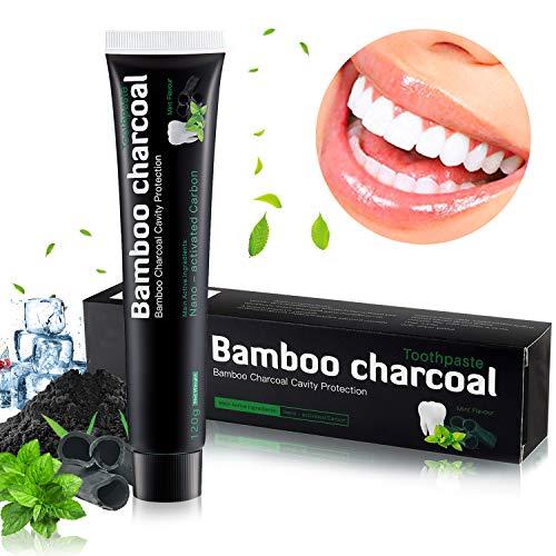Aktivkohle Zahnpasta, Natürliche Zahnaufhellung Zahnpasta, Zahnpasta Weisse Zähne zur Beseitigung von Mundgeruch und Zahnflecken, Zahnpasta ohne Fluorid Macht Weiße Zähn, Minzgeschmack, MEHRWEG -