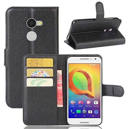 Hülle Alcatel A3 + 1 x Panzerglas, EUGO PU Ledercase Tasche Hüllen Schutzhülle Scratch Magnetverschluss Telefon-Kasten Handy hülle Standfunktion Handycover