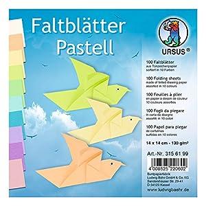 Ursus 3156199Plegable Hojas Colores Pastel, 14x 14cm, 100Hojas Surtido en 10Colores