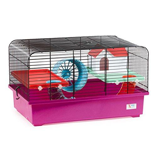 CTC-Trade | Hamsterkäfige Pink Außenmaße 40x25x26,5 Mäusekäfig Nager Hamster Plastik Kleintier Käfig mit Zubehör