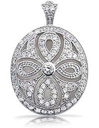 Bling Jewelry Vintage recorte CZ chapados en rodio Medallón collar de 18 pulgadas