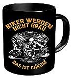 Close Up Biker Werden Nicht grau Tasse - schwarz, aus Keramik, ca. 320 ml Fassungsvermögen.