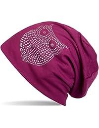styleBREAKER klassische Beanie Mütze mit Strass Eulen Applikation, Damen 04024039