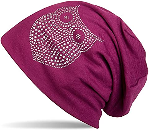 styleBREAKER classic beanie hat with owl rhinestone application, women 04024039, colour:violet