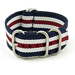 StrapsCo 16mm Navy Blue / White / Burgundy Matte 5-Ring G10 Ballistic Nylon Nato Zulu Watch Strap