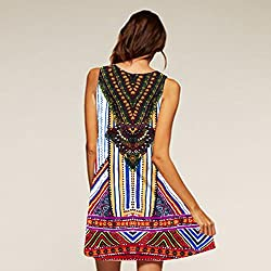 Mini Dress, Women Gypsy Printed Calico Lady Summer Maxi Party Evening A-Line Dress