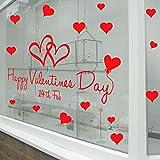 Autocollants pour la Saint-Valentin pour murs, fenêtres et vitrines de magasin, décorations murales autocollantes amovibles spéciales St Valentin, Vinyle Vernis brillant, Red, Large-Reverse-Print...