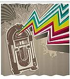Abakuhaus Duschvorhang, Jukebox Musik Grafik Zickzack Liniert Musik Wellen Vintage Hipster Design Mehrfarbiger Druck, Blickdicht aus Stoff inkl. 12 Ringen Umweltfreundlich Waschbar, 175 X 200 cm