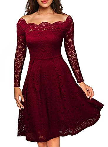 MIUSOL Women's Vintage Floral Lace Long Sleeve Boat Neck Cocktail Formal Swing Dresses For Women