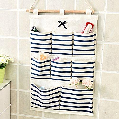 Leinen Baumwolle Hängen Taschen Tasche - Meedot Kleiderschrank Tür Wand Hang Lagerung Korb Eimer Organizer Space Saver Geschenk, 8 Pockets Blue Stripe