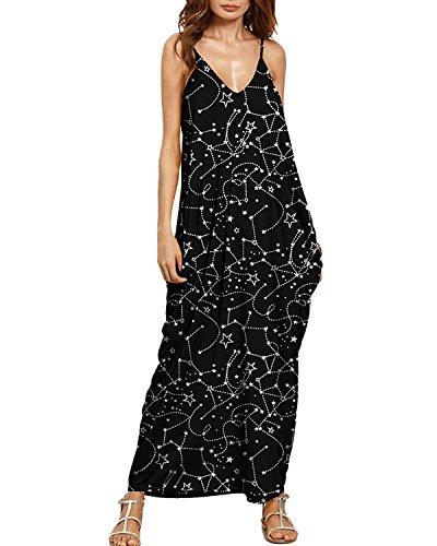 Auxo Eté Femme Maxi Dress Sexy Col V Mode Motifs Floral Eté Voyage Plage Bretelles Longue Robe 8