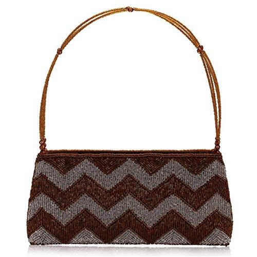ERGEOB® Donna Clutch sacchetto di sera borsetta mano-perla taschino diamante festetaschino marrone