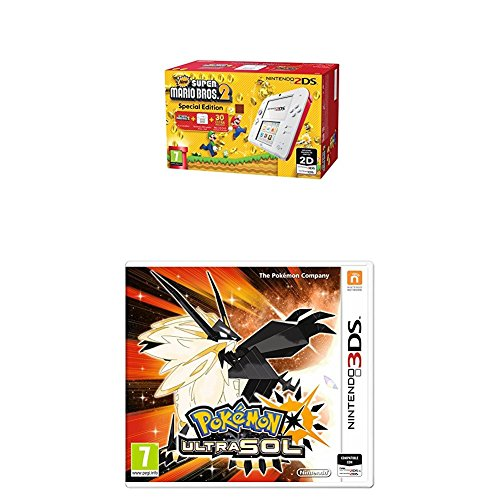 Nintendo 2DS - Consola, Color Rojo + New Super Mario Bros 2 (Preinstalado) + Pokémon Ultrasol