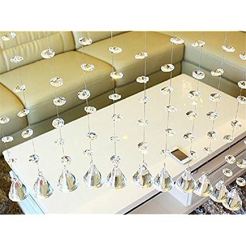 Mohoo 14mm Tenda della porta Lampadario di cristallo di vetro libera ottagonale lampada a sospensione Prism goccia Perle