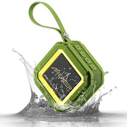 Foto de Altavoz Bluetooth Impermeable, Altavoces Inalámbrico Portátil con Micrófono Bajo Robusto para Duchar, Nadar, Deportes y Más Actividades al Aire Libre, Verde