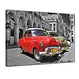 Bilderdepot24 Kunstdruck - Oldtimer Kuba - Bild auf Leinwand 80 x 60 cm - Leinwandbilder - Bilder als Leinwanddruck - Wandbild Motorisiert - Karibik - Straßenkreuzer auf Cuba