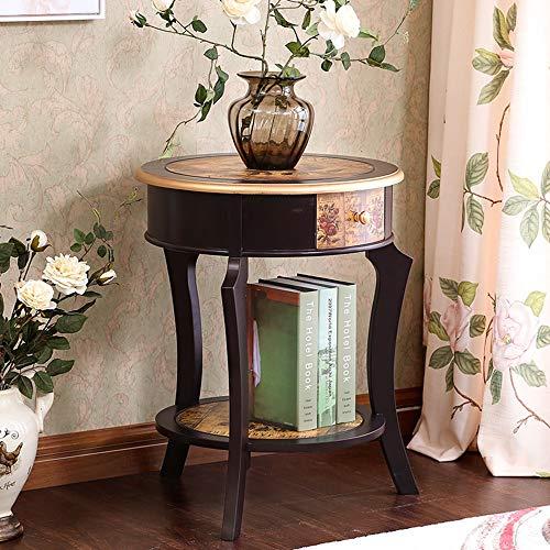 DEO Table d'appoint Table d'appoint Table d'appoint ronde Table d'appoint avec tiroir (Couleur : 1003)