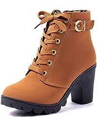 d94063e525cb CHNHIRA Chaussures Chunky Talon Court Bottes Haut Talon Fermeture Éclair  Latérale Bottes Martin Épais Soled Chaussures