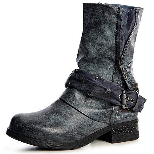 topschuhe24 1500 Damen Stiefeletten Worker Biker Boots Waden Stiefel, Größe:39 EU, Farbe:Blau