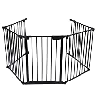 SOULONG Safety Gate Playpen, Metal Extensible Foldable Safety Gate Fireplace Stove Fence Protection Doors for Baby Toddlers Kids Pets 5-Panel