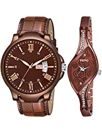 PAPIO Brown Color Chronograph Leather and Metal Strap Analog Couple Watch P-CPL 1003