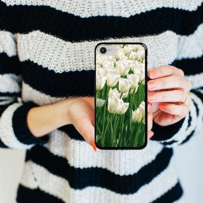 Apple iPhone X Silikon Hülle Case Schutzhülle Tulpen Blumen Blumenwiese Hard Case schwarz