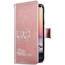 Uposao Huawei Honor 8 Coque,Housse en Cuir Pochette Portefeuille,Hibou Cœur Motif Etui à Rabat Magnétique PU Premium Flip Case,Stand Support,Porte-Cartes Coque pour Huawei Honor 8,Or rose