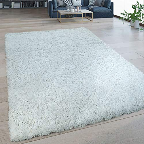 Paco Home Hochflor Wohnzimmer Teppich Waschbar Shaggy Flokati Optik Einfarbig In Weiß, Grösse:60x100 cm -
