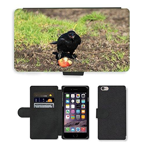Just Mobile pour Hot Style Téléphone portable étui portefeuille en cuir PU avec fente pour carte//m00140087Corbeau Raven Raven Oiseaux oiseau noir//Apple iPhone 6Plus 14cm