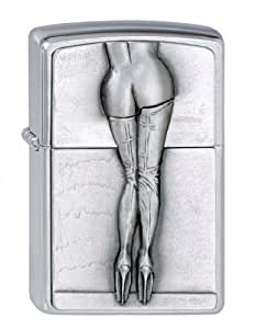 Zippo briquet, Sexy Hot Overknee Woman, 3-D Emblème, Chromé
