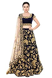 Fabron Midnight blue machine embroidery lehenga choli with sequins embellished.